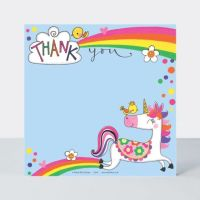 Set of 8 Unicorn Thank You Cards - GLITTERY Unicorn & RAINBOWS Thank YOU Cards - CHILDRENS Thank YOU Cards - PARTY Thank YOU Cards