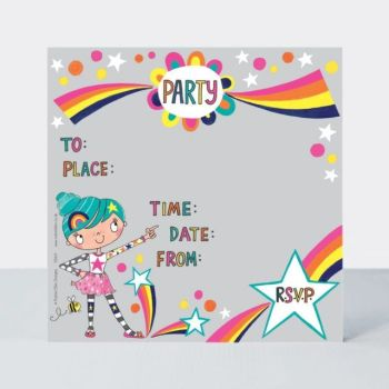 Colourful Rainbow Party Invitations – RAINBOW Party Invitations – BIRTHDAY Invitations - CHILDREN'S Party INVITATIONS - PARTY Invitations for CHILDREN