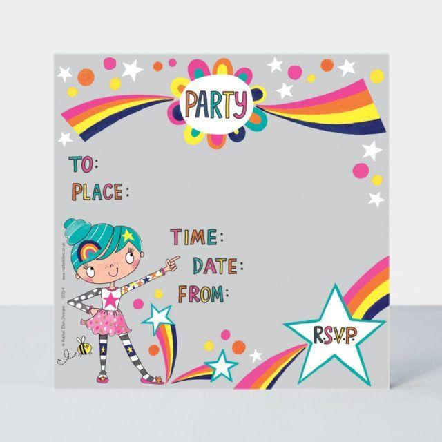 Colourful Rainbow Party Invitations – RAINBOW Party Invitations – BIRTHDAY