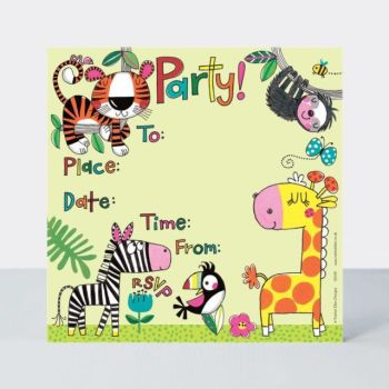 Jungle Party Invitations 8 Sheets & Envelopes – ANIMAL Party INVITATIONS - Jungle INVITATIONS - Kids PARTY Invitations - JUNGLE Animals PARTY Invites