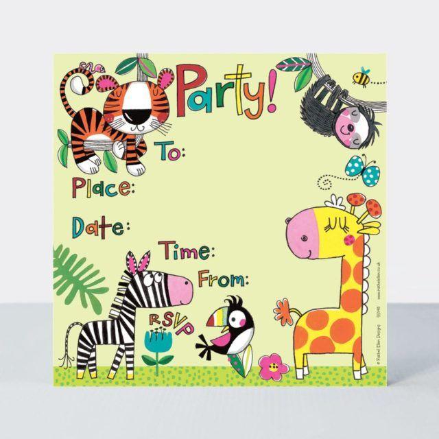 Jungle Party Invitations 8 Sheets & Envelopes – ANIMAL Party INVITATIONS -