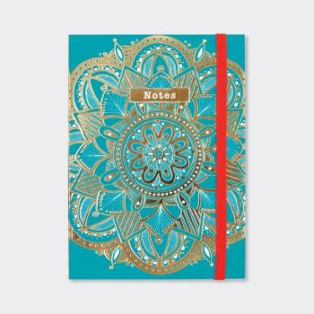 A6 Notebooks - TEAL Mandala NOTEBOOK - A6 Pocket NOTEBOOK - Beautiful GOLD & Teal NOTEBOOK - Buy A6 NOTEBOOKS Online - Lined NOTEBOOK - Gifts FOR Her