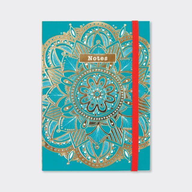 A6 Notebooks - TEAL Mandala NOTEBOOK - A6 Pocket NOTEBOOK - Beautiful GOLD