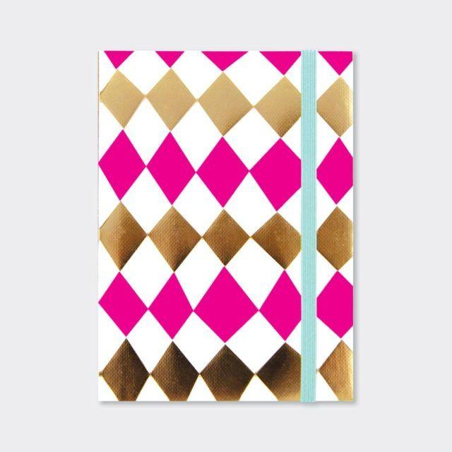 A6 Notebooks - Beautiful DIAMOND Design PINK & GOLD NOTEBOOK - A6 Pocket NO