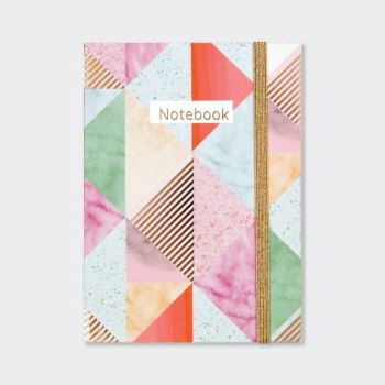 A6 Notebooks - GEOMETRIC Design NOTEBOOK - A6 Pocket NOTEBOOK - Beautiful PINK & GOLD Coloured NOTEBOOK - Buy A6 NOTEBOOKS Online - Lined NOTEBOOK