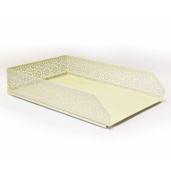 Pastel Yellow A4 Letter Tray & Pen Pot - 2 PIECE Set - DESK Storage - STATIONERY Supplies - DECORATIVE Letter TRAYS - Desk TIDY