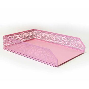 Pastel Pink A4 Letter Tray & Pen Pot - 2 PIECE Set - DESK Storage - STATIONERY Supplies - DECORATIVE Letter TRAYS - Desk TIDY