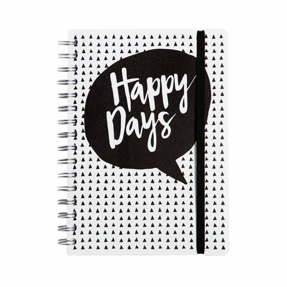 A5 Monochrome Notebook - 120 PAGE Notebook - HAPPY DAYS - A5 NOTEBOOK - Lin