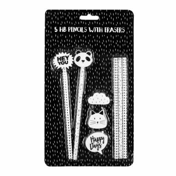 Panda Pencils with Eraser Toppers Pack of 5 - PENCILS With ERASER Toppers - Set OF 5 - PANDA Stationery - KIDS Pencils