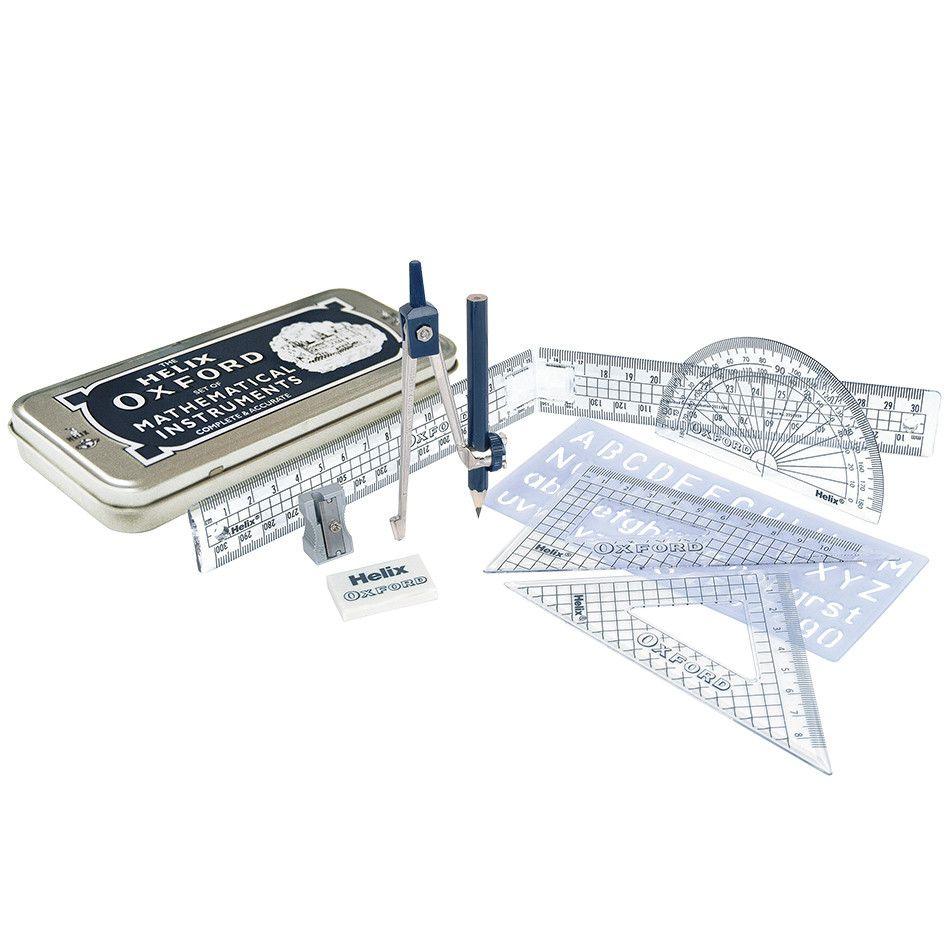 Helix Oxford Maths Set With Metal Tin - 9 PIECE Math SET - RULERS & Geometr
