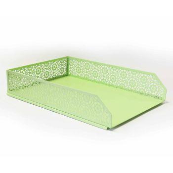 Pastel Green A4 Letter Tray & Pen Pot - 2 PIECE Set - DESK Storage - STATIONERY Supplies - DECORATIVE Letter TRAYS - Desk TIDY