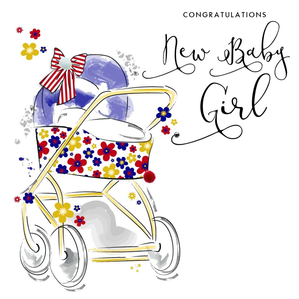 Congratulations Baby Girl Greeting Card - BABY Girl CARDS - Pretty EMBELLIS