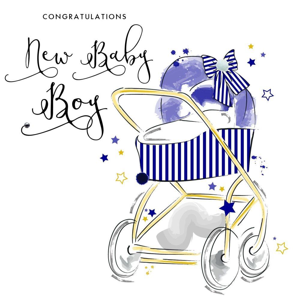 Congratulations Baby Boy Greeting Card - BABY Boy CARDS - Pretty EMBELLISHE