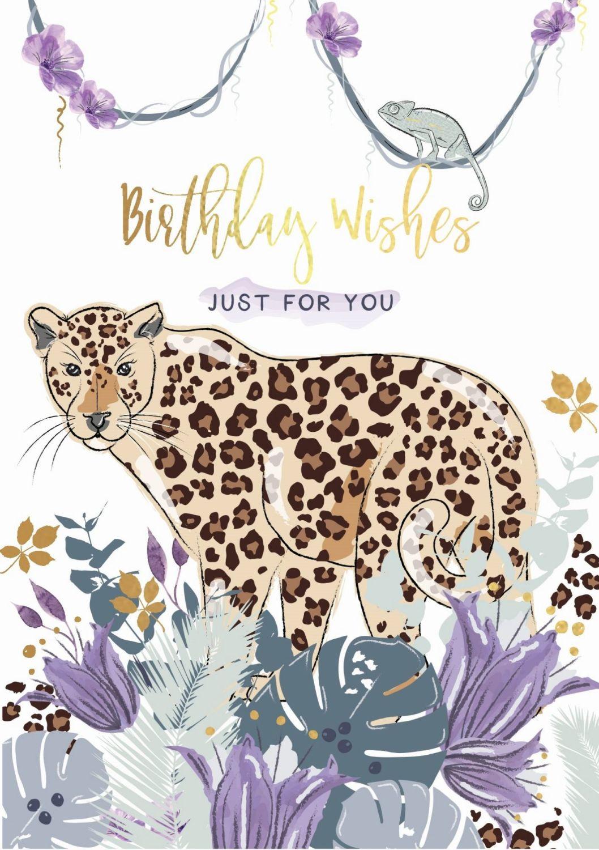 Just For You Birthday Card - BIRTHDAY WISHES - Leopard BIRTHDAY Cards - BIR