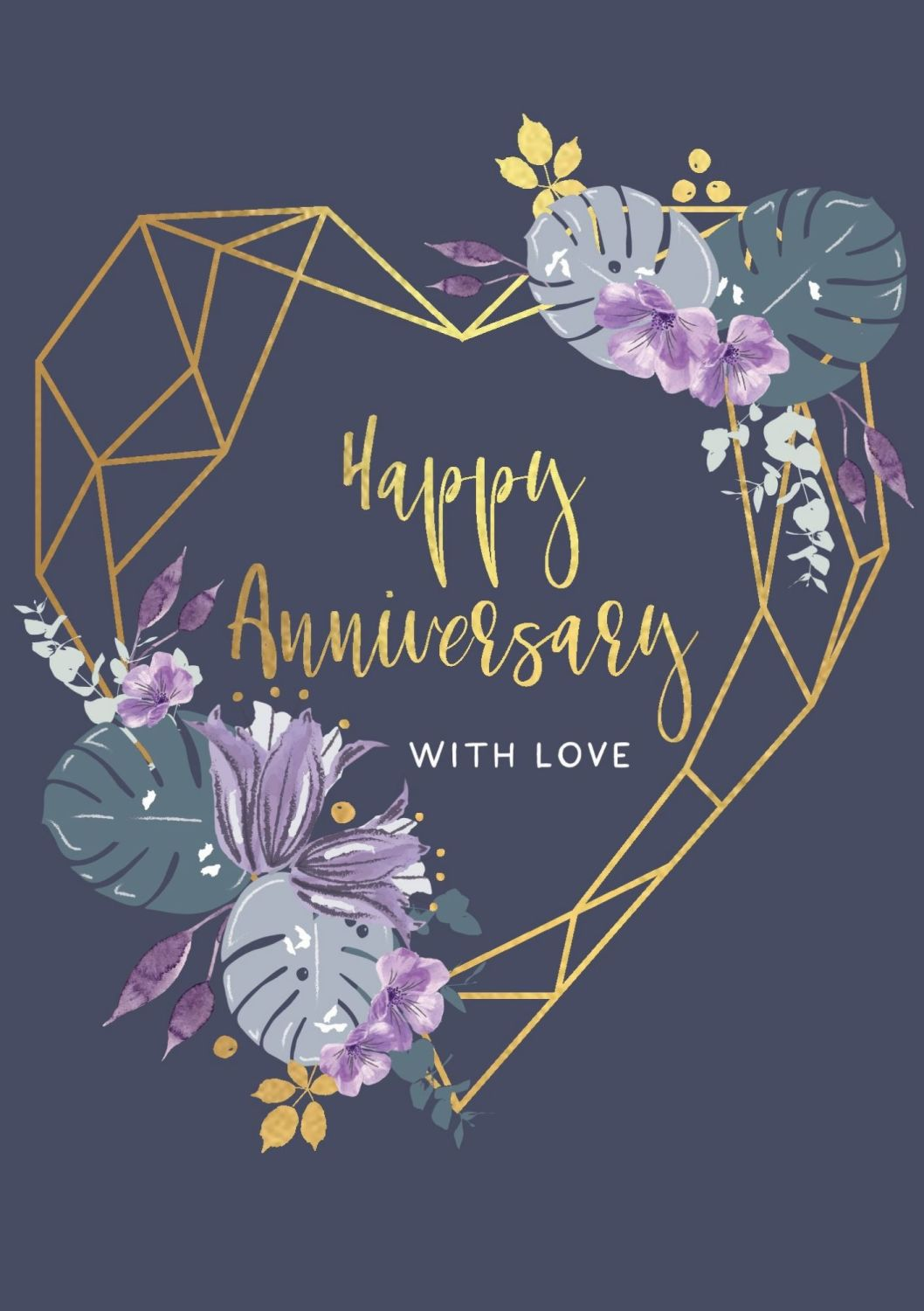 Happy Anniversary Greeting Card - WITH LOVE - Anniversary GREETING Cards -