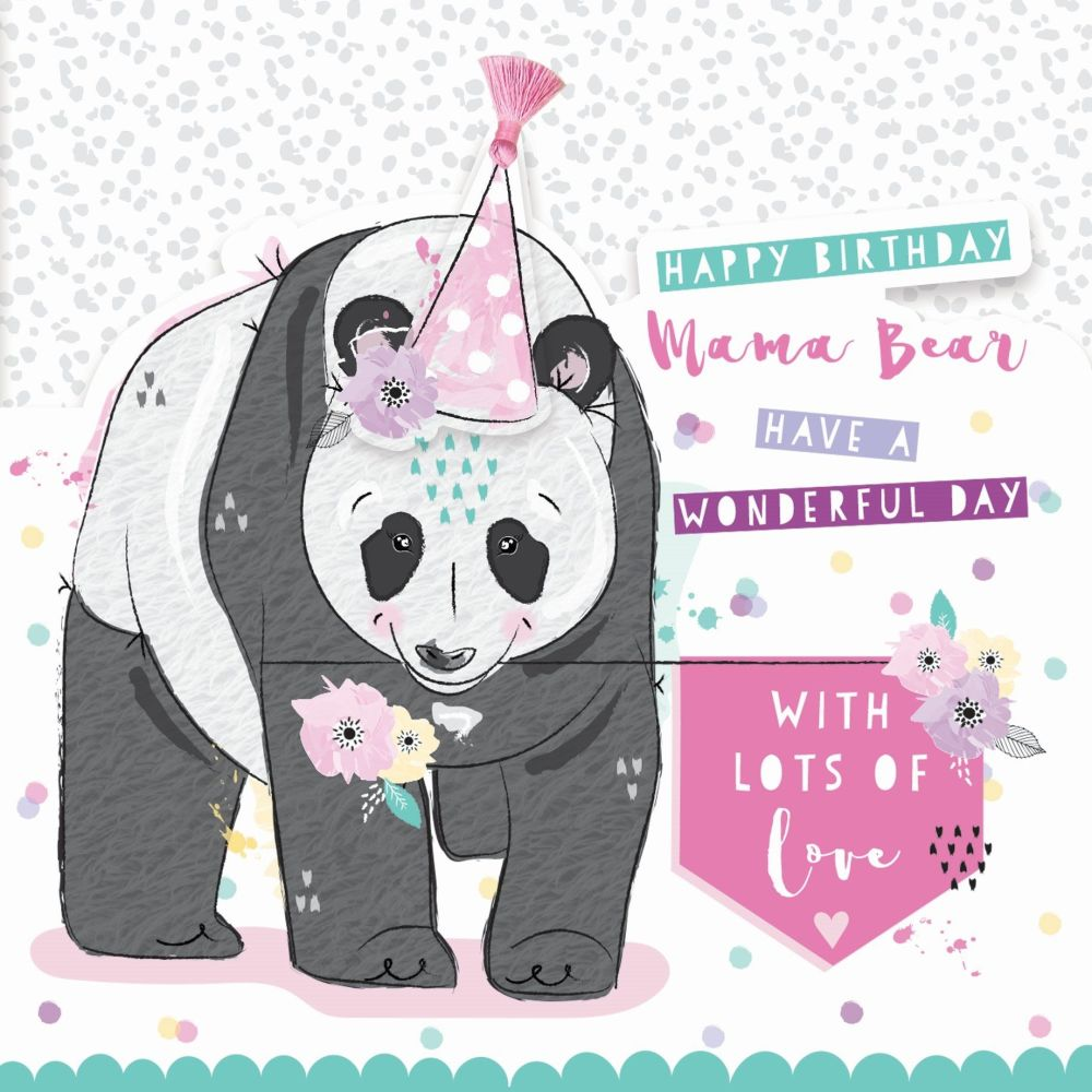 Happy Birthday Mama Bear Birthday Card - MUM Birthday CARDS - 3D Birthday C