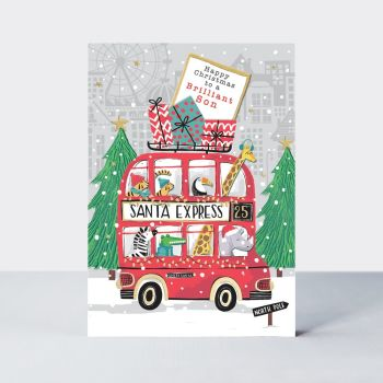 Christmas Cards - SON Christmas CARDS - Happy CHRISTMAS To A BRILLIANT Son - CHRISTMAS Cards For KIDS - Fun SANTA Express CHRISTMAS Cards