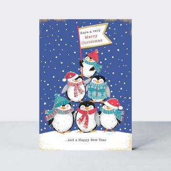 Christmas & New Year Cards - HAVE A Merry CHRISTMAS & A Happy NEW Year - PENGUIN Christmas CARDS - Fun CHRISTMAS Cards - CUTE Xmas CARDS