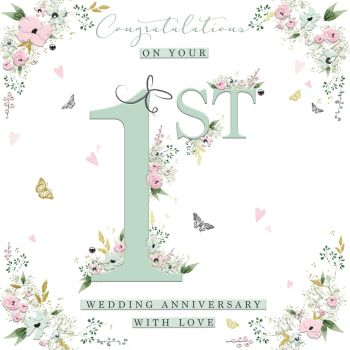 1st Wedding Anniversary Cards - WITH Love - ANNIVERSARY Congratulations - Wedding ANNIVERSARY Cards - PRETTY 1st ANNIVERSARY Card - EMBELLISHED Card