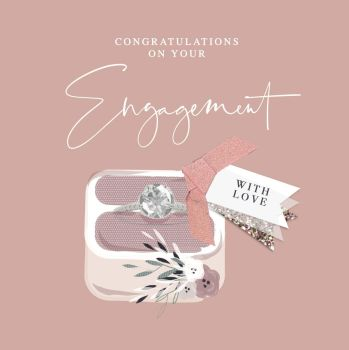 Unique Engagement Cards - WITH LOVE - Engagement CONGRATULATIONS Cards - Engagement CARDS - Embellised CARD - Congratulations On Your ENGAGEMENT Cards
