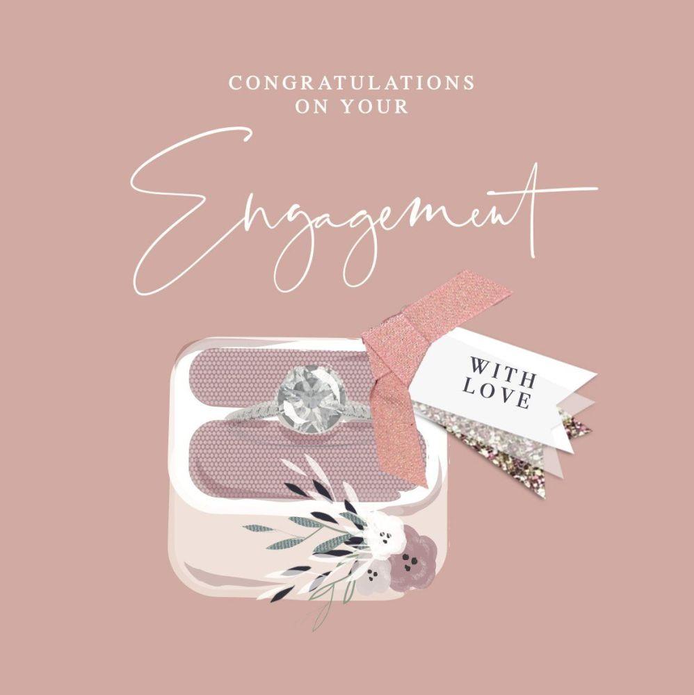Unique Engagement Cards - WITH LOVE - Engagement CONGRATULATIONS Cards - En