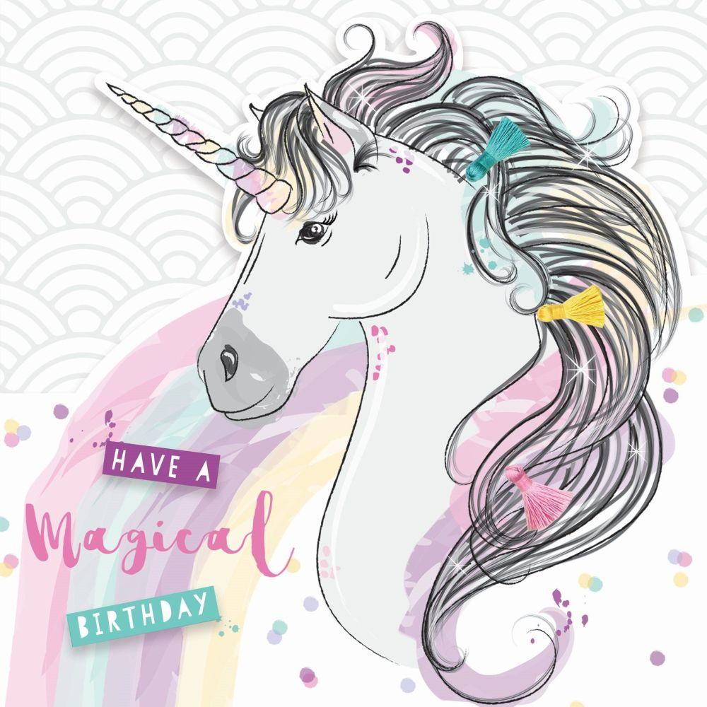 Unicorn Birthday Cards - Have A MAGICAL Birthday - 3D Style BIRTHDAY Card F