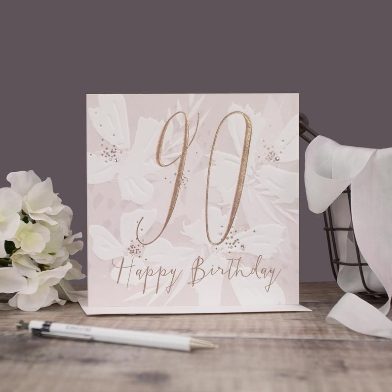 90th Birthday Cards - HAPPY Birthday - PRETTY 90th Birthday CARD - 90th - M