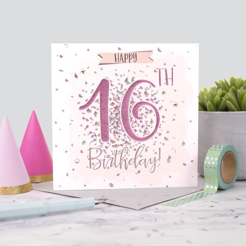 16th Birthday Cards - HAPPY 16th BIRTHDAY - Sparkly BIRTHDAY Card - GEM Emb