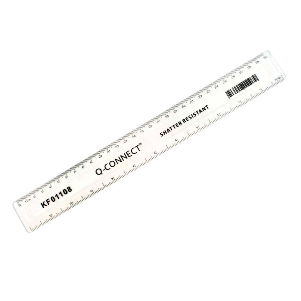 30cm Shatterproof Ruler Clear - 12 INCH Plastic RULER - RULERS - Stationery