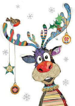 Rudolph The Reindeer Christmas Cards - RUDOLPH With BAUBLES - Funny CHRISTMAS Cards - RUDOLPH Cards - FUN Card For NEIGHBOURS - Friends WORK Colleague
