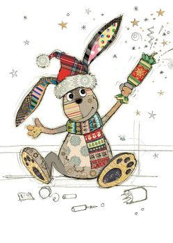 Christmas Cards - CUTE Bunny With CRACKER Christmas CARD - Gold FOIL Christmas CARD - Blank CHRISTMAS Cards - CHRISTMAS Card FOR Friends