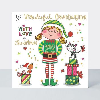 Granddaughter Christmas Cards - To A WONDERFUL Granddaughter WITH LOVE At CHRISTMAS - Granddaughter Christmas CARDS - Christmas JUMPER Christmas CARDS
