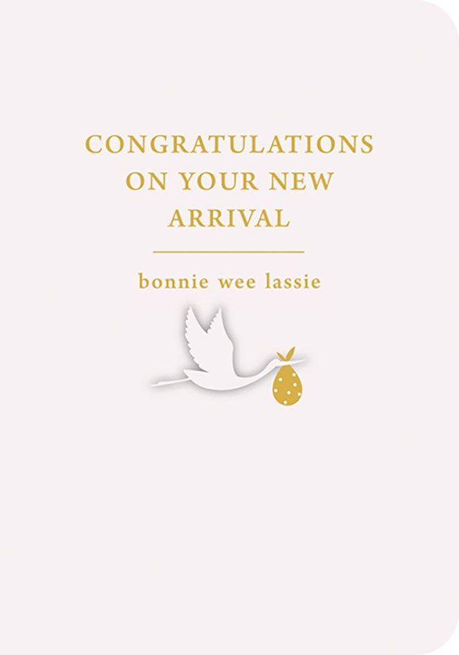 Scottish Baby Card - BONNIE Wee LASSIE - BABY Girl NEW Baby CARDS - Birth C