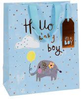 Blue Newborn Baby Boy Luxury Gift Bag - HELLO Baby BOY - Large GIFT Bag - Baby GIFTS - BABY Gift BAGS - Baby SHOWER & Christening GIFT Bags