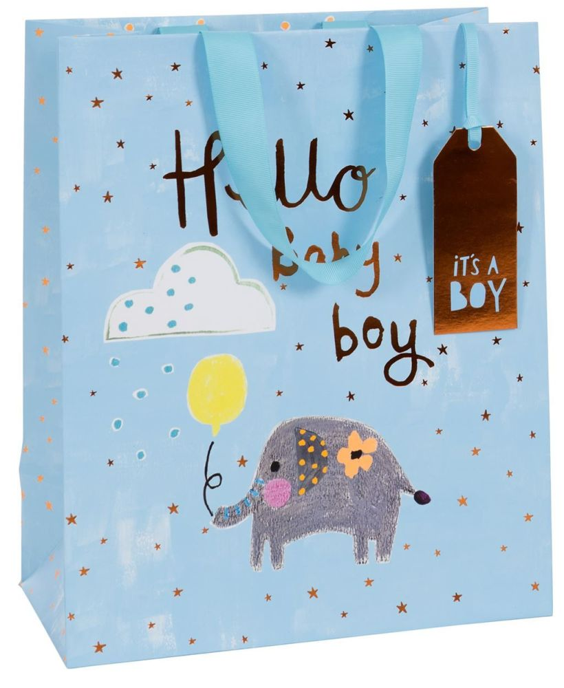 Blue Newborn Baby Boy Luxury Gift Bag - HELLO Baby BOY - Medium GIFT Bag -