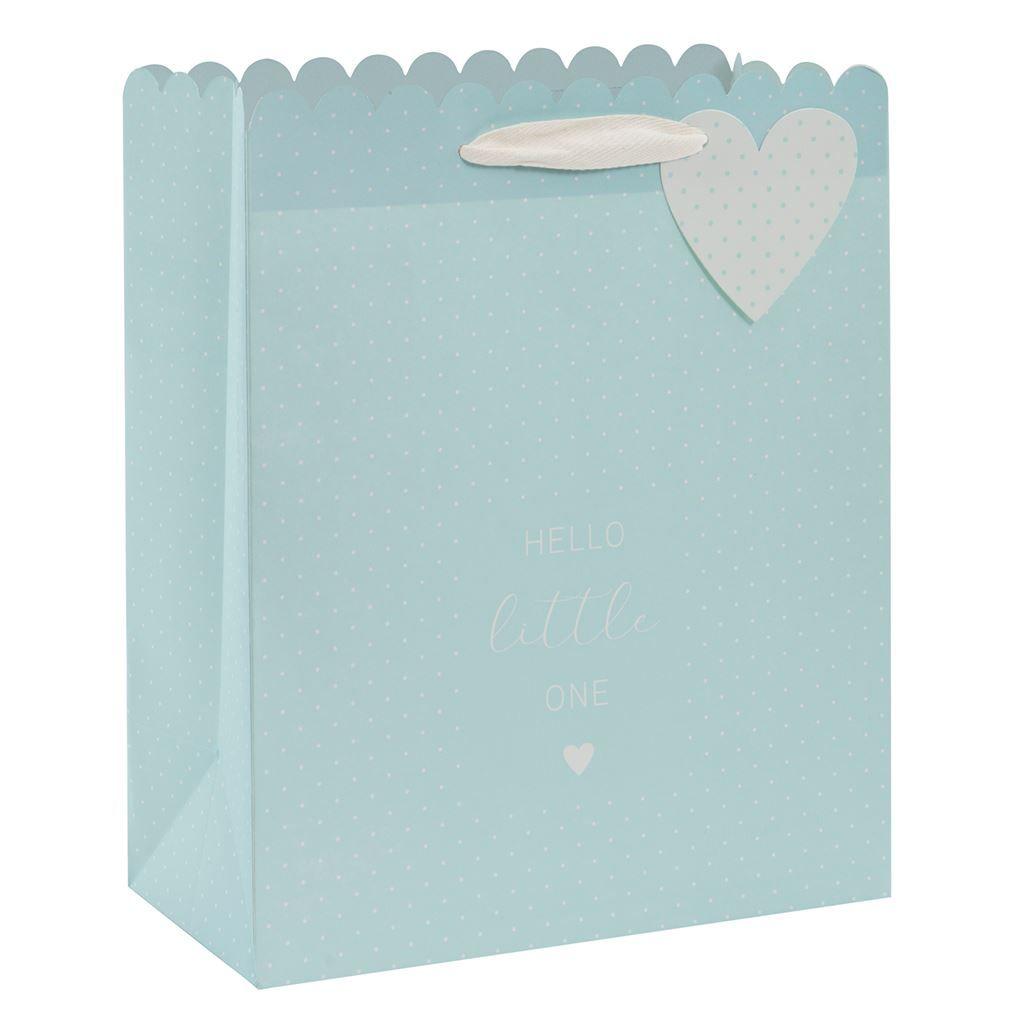 Blue Newborn Baby Boy Luxury Gift Bag - HELLO Little ONE - Large POLKA Dot