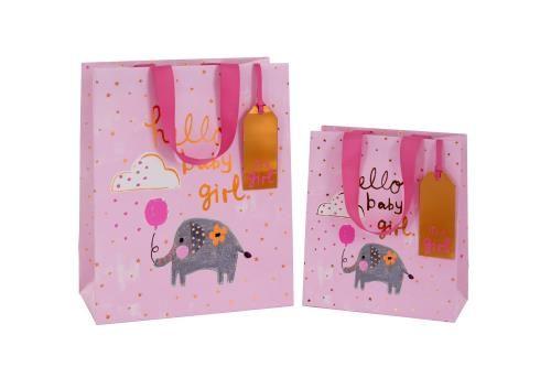 Pink Newborn Baby Girl Luxury Gift Bag - HELLO Baby GIRL - Baby GIRL Gift B