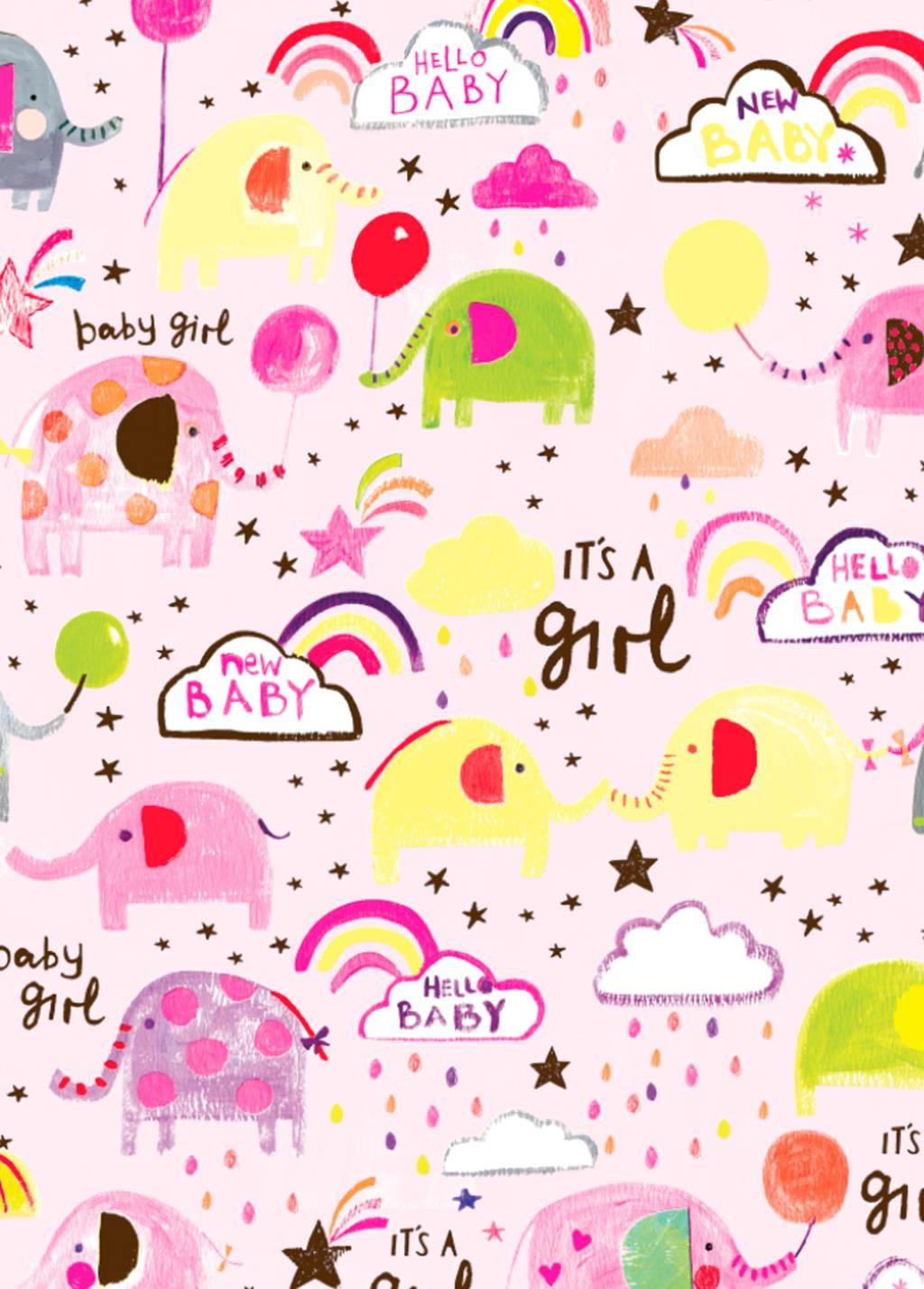 It's A Girl Wrapping Paper - 2 SHEETS Of LUXURY Gift WRAP - RECYCLABLE Wrap