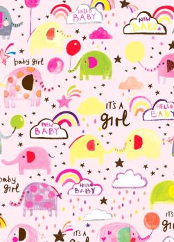 It's A Girl Wrapping Paper - 2 SHEETS Of LUXURY Gift WRAP - RECYCLABLE Wrapping Paper - Flat WRAP - WRAPPING Paper SHEETS - Cute BABY Girl GIFT WRAP