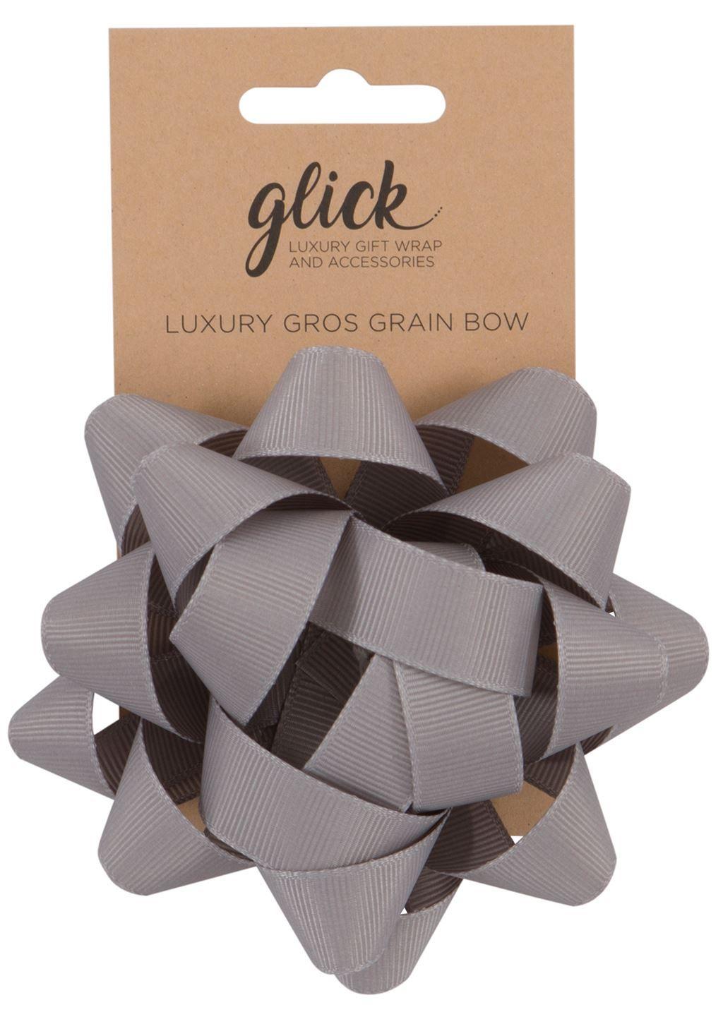 Confetti Bows - SILVER - 12CM Grosgrain CONFETTI BOWS - Luxury GIFT Bow - G