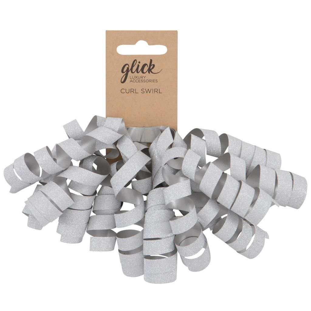 Silver Glitter Curl Swirl - CURLY Swirl BOW - Gift Wrap ACCESSORIES - FUNKY