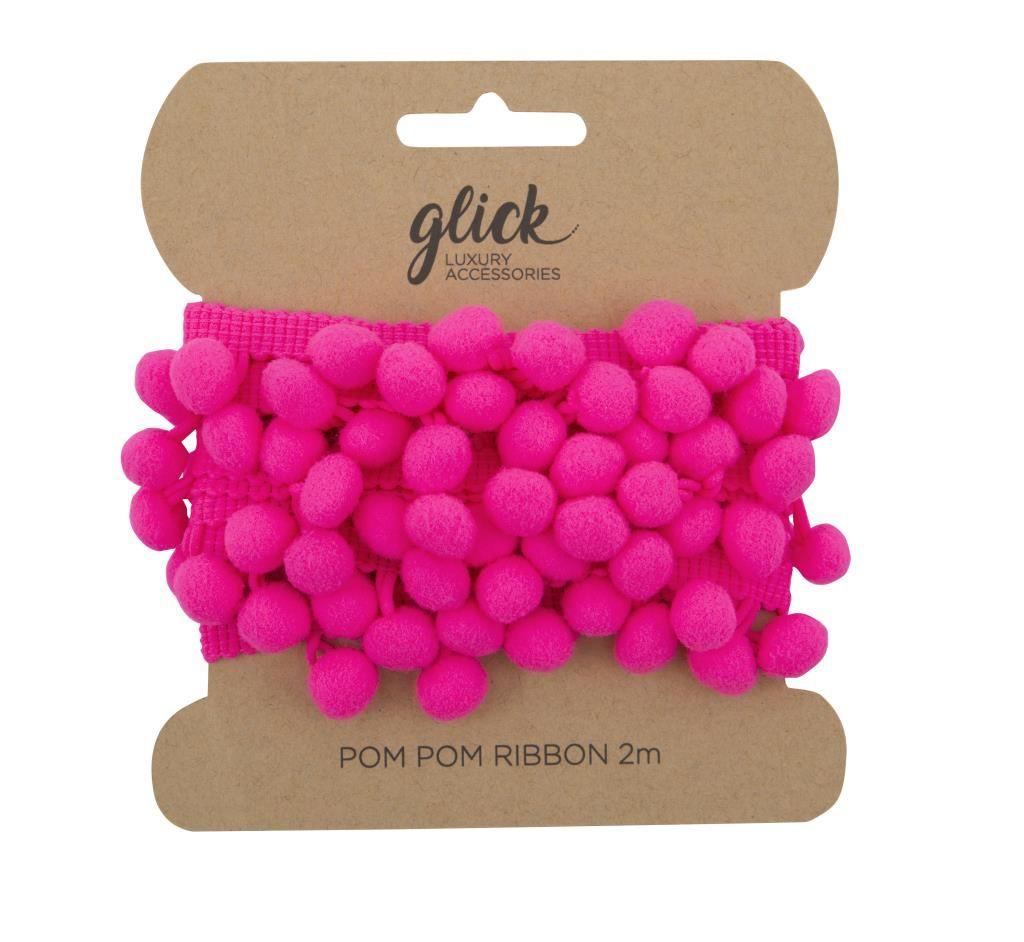 Pom Pom Ribbon 2M - HOT PINK - Pom Pom RIBBON - POM POM Trim - LUXURY Gift