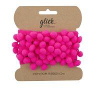 Pom Pom Ribbon 2M - HOT PINK - Pom Pom RIBBON - POM POM Trim - LUXURY Gift WRAP - Wrap ACCESSORIES - HOT PINK Gift WRAP
