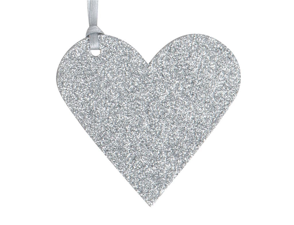 Gift Tags - GLITTER Heart TAGS 3 Pack - SILVER Glitter HEART TAGS - Gift WR