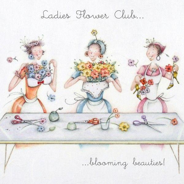 Flower Club Birthday Card - BLOOMING Beauties - LADIES Flower CLUB Card - B