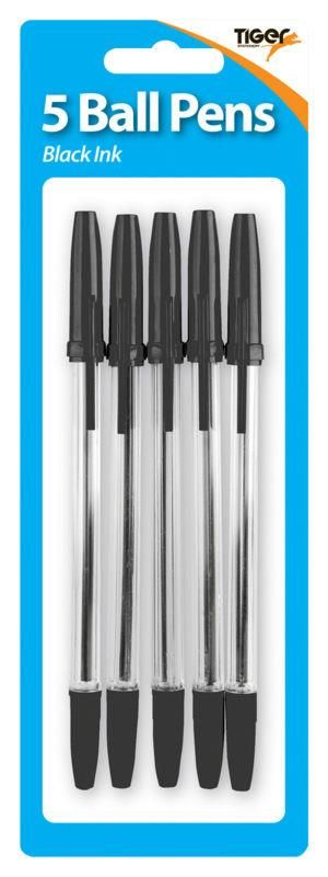 Tiger Black Ballpoint Pens 5 Pack - PACK Of FIVE - OFFICE Stationery - BLAC
