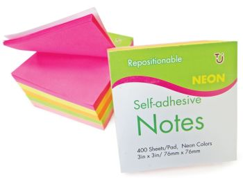 Sticky Note Cube 76 x 76 mm Assorted Neon 400 Sheets -POST IT Notes - REMOVABLE Sticky POST IT NOTES - Page MARKERS - Note CUBE