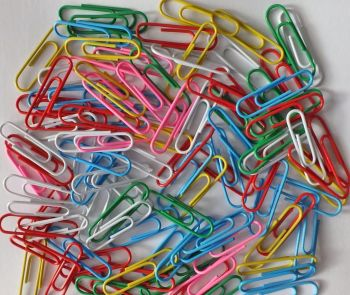 Box of 100 Multicoloured Metal Paper Clips 33mm - PAPER Clips - 100 Paper CLIPS - Office SUPPLIES - Stationery