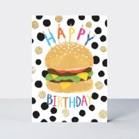 Burger Birthday Cards - HAPPY BIRTHDAY - FUN Birthday CARD For HIM - CHEESEBURGER Cards - BIRTHDAY Card For SON - Boyfriend - BROTHER - Nephew