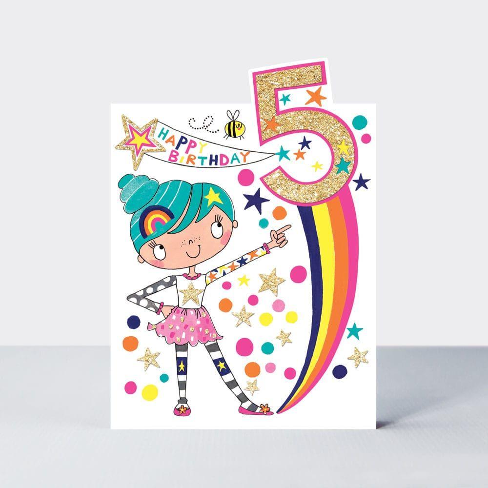 5th Birthday Card For Girl - HAPPY Birthday - SUKI STARBURST - Glittery 5th